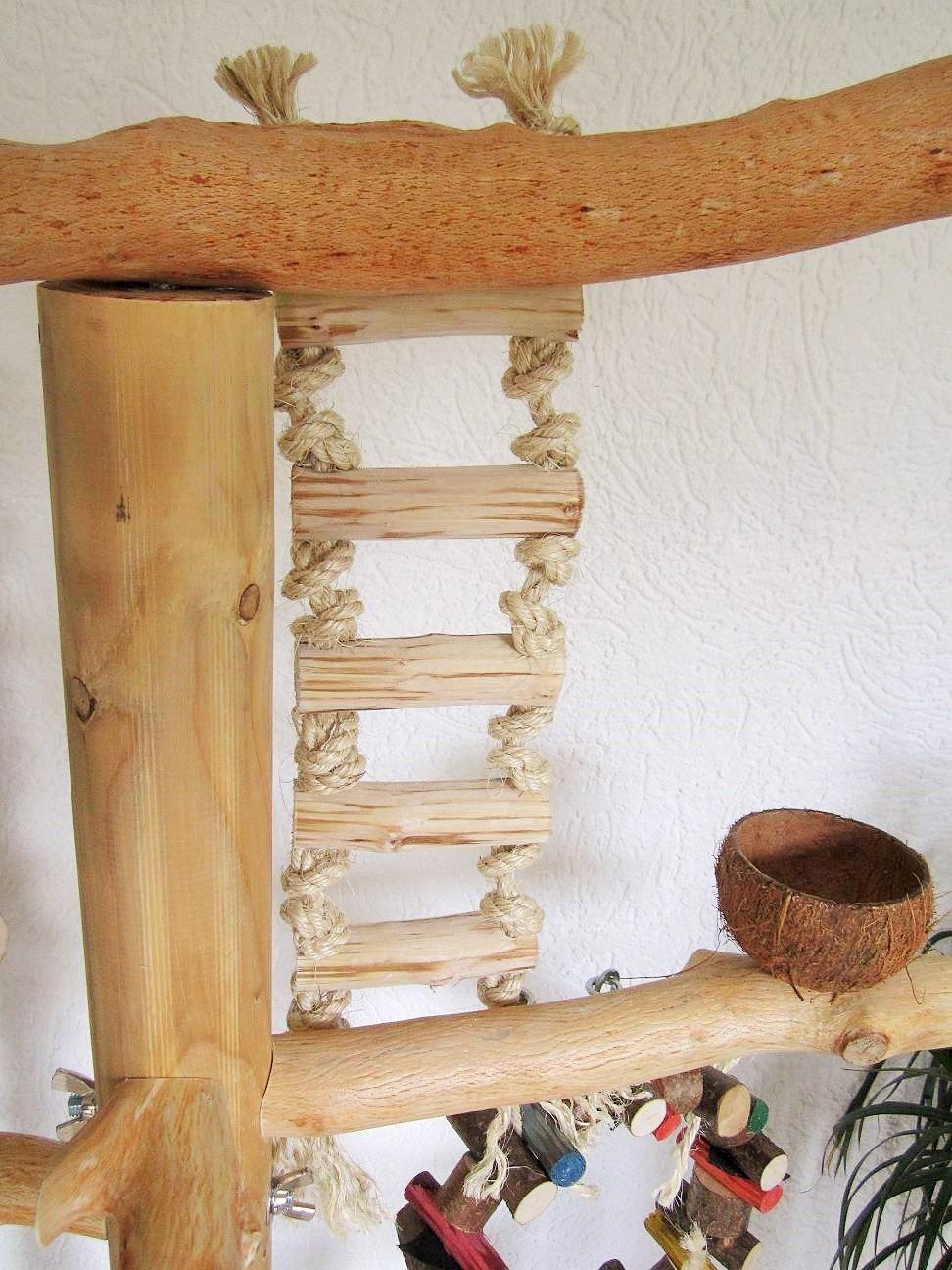 FREISITZ aus ROTBUCHENHOLZ Mittlere Papageien Kletterbaum für Vögel 165 cm Carsten Voigt Papageienspielzeug