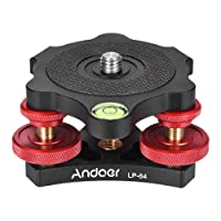"Andoer LP-64 Stativ Nivellierbasis Tri-Rad Precision Leveler mit Blase Level 3/8 "" Schraube Aluminiumlegierung Max. 15kg / 33Lbs"