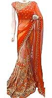 Jhtex Fashion Women's Clothing Orange Net&Georgette Sarees Diwali Special Saree (GN-Orange_Orange55)