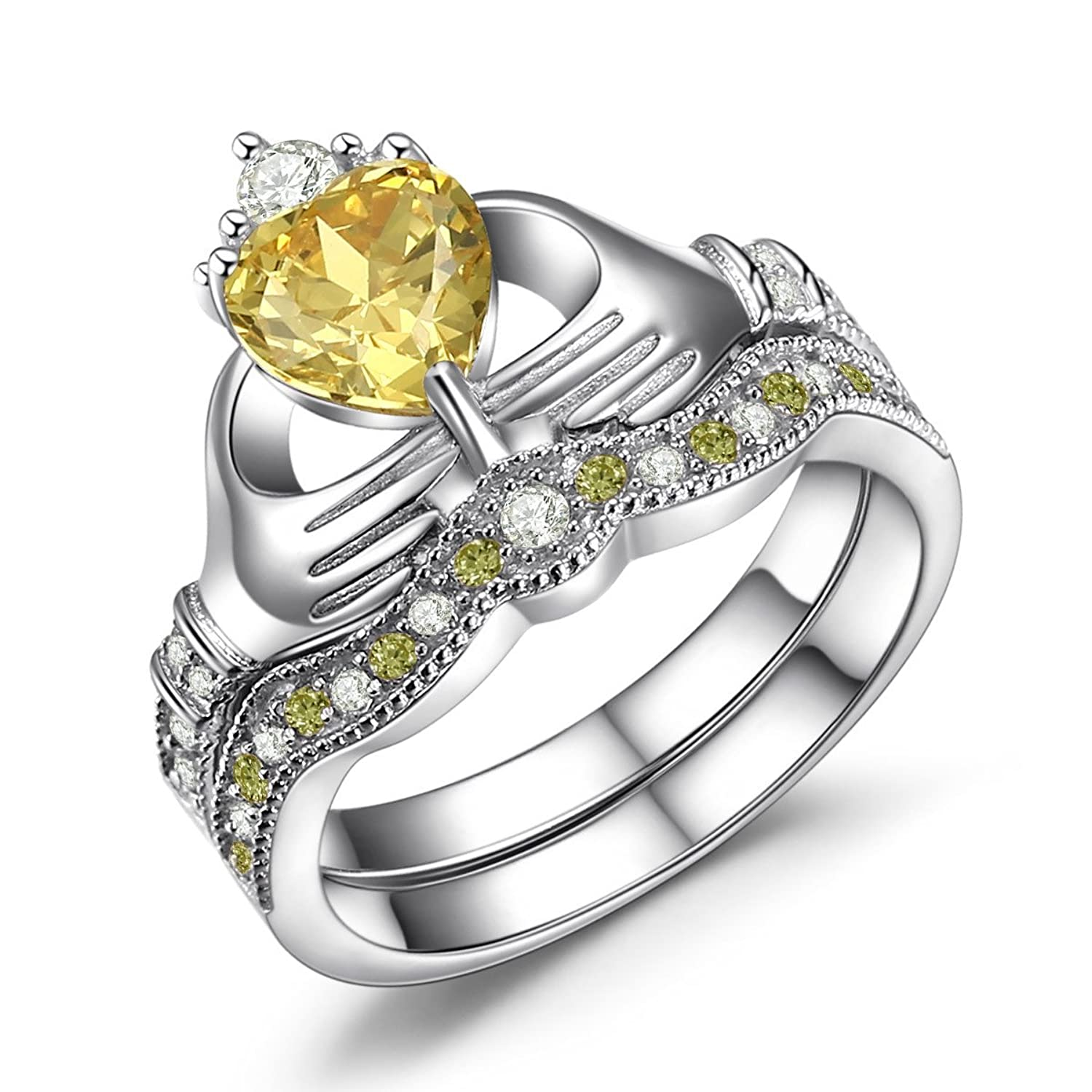 Caperci Sterling Silver Claddagh Ring, Heart Shaped Created Citrine Wedding Engagement Ring Sets