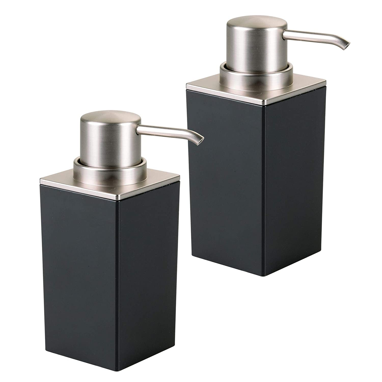 mDesign Soap Dispenser Pump for Bathroom Vanity Counter Top - Pack of 2, Black/Brushed Nickel MetroDecor Others
