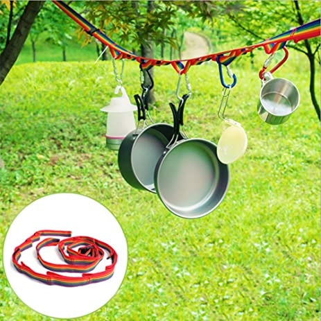 Camping Tent Nylon Hanging Rope Colorful Portable Outdoor Clothesline  Clothes Line With Mountaineering Buckle For Hanging