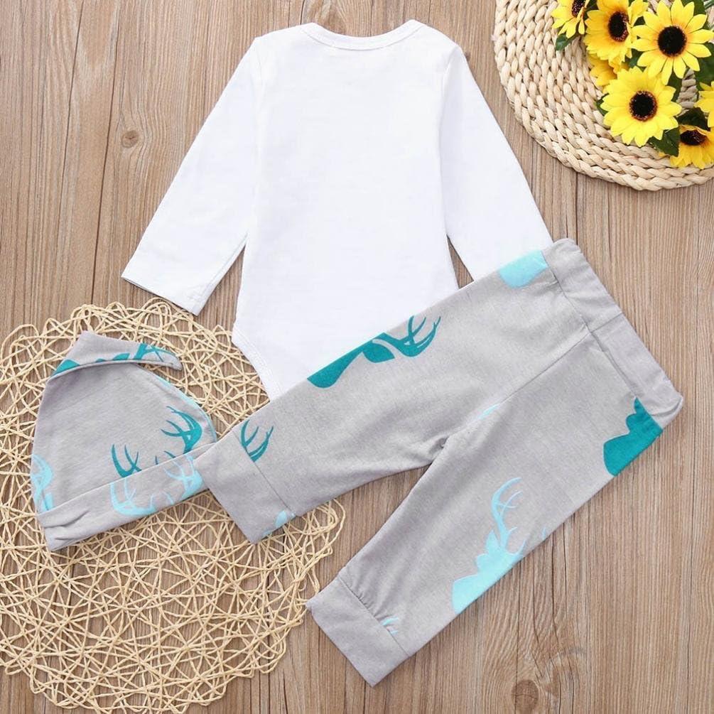 Memela Baby Girls Boys Clothes,3PCS Print Romper+Deer Head Print Pants+Hat Set Outfit