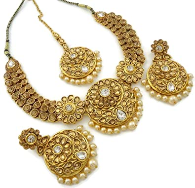 542660180a Buy Star Trends White LCT Kundan Cz Pearl Golden Tone Necklace Set Earrings  Tikka for Women Online at Low Prices in India | Amazon Jewellery Store -  Amazon. ...
