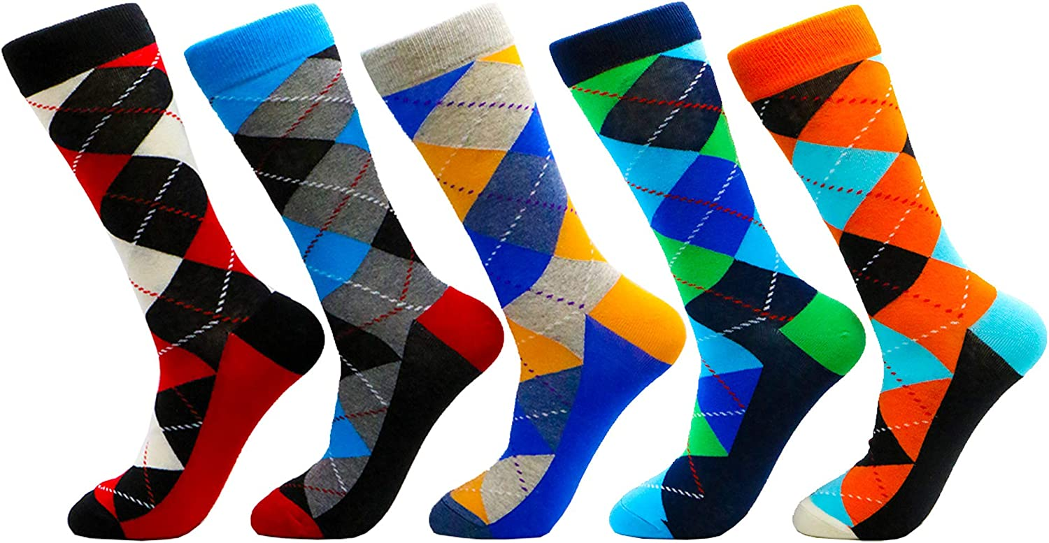Colorful Funky Socks for Man Soft Funny Casual Knit Cotton Patterned Printed Crew Athletic Socks Mens Novelty Dress Socks