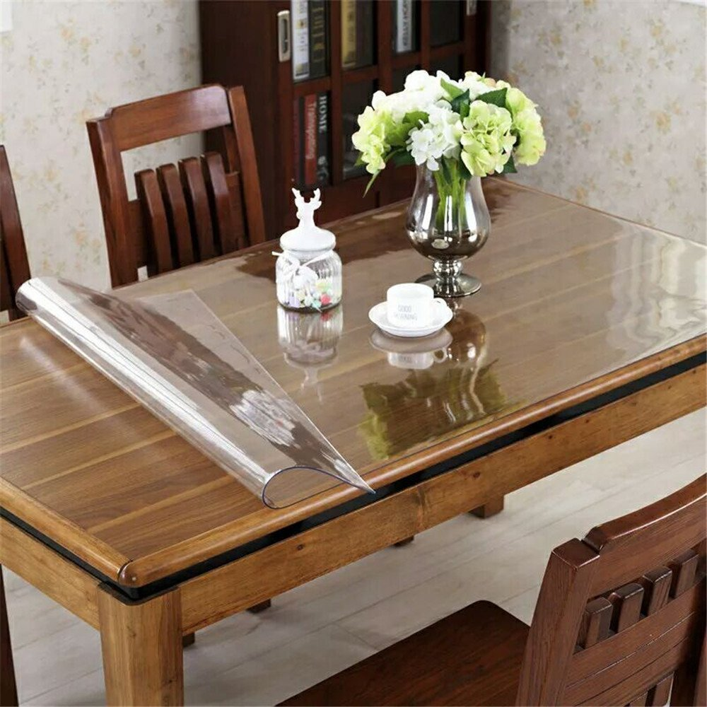 OstepDecor Custom 2mm Thick Crystal Clear Table Top Protector Plastic Tablecloth Kitchen Dining Room Wood Furniture Protective Cover | Rectangular 40 x 78 Inches by OstepDecor (Image #2)