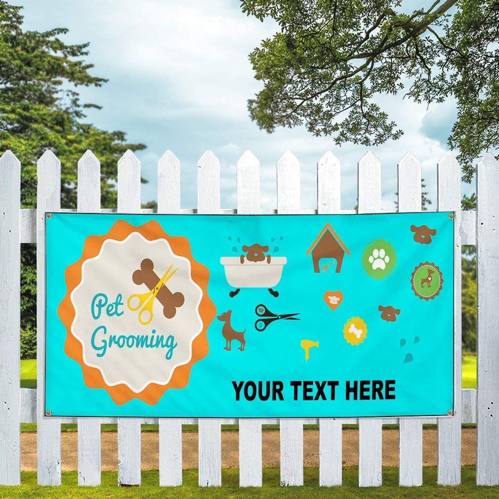 Custom Industrial Vinyl Banner Multiple Sizes Pet Grooming Style E Personalized Text Here Business Outdoor Weatherproof Yard Signs Teal 10 Grommets 60x120Inches