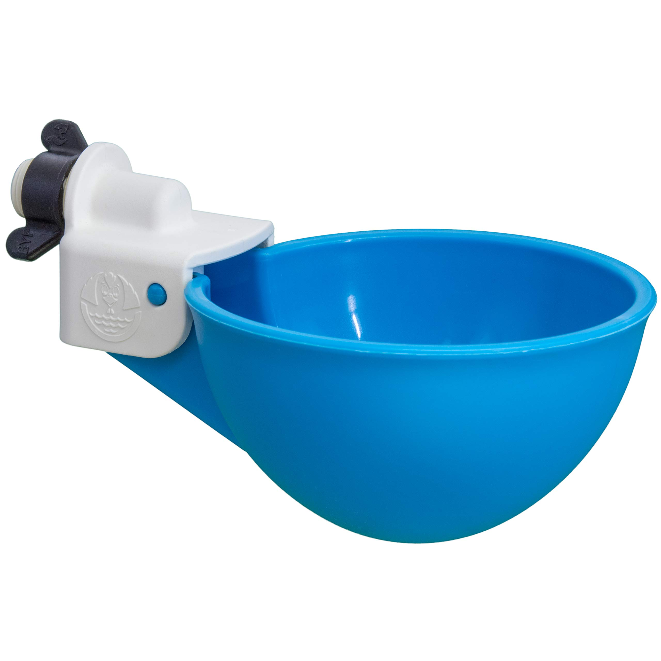 (4 Pack) Oasis Chicken Watering Cups   Drill Bit and Hardware Included!   Fully Automatic Poultry Waterers   No Floats or Tabs to Peck!   Qty: 4 (Blue) by Backyard Flock