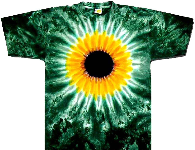 Amazon.com: Tie Dyed Shop Yellow Sunflower on Green Tie Dye T Shirt ...