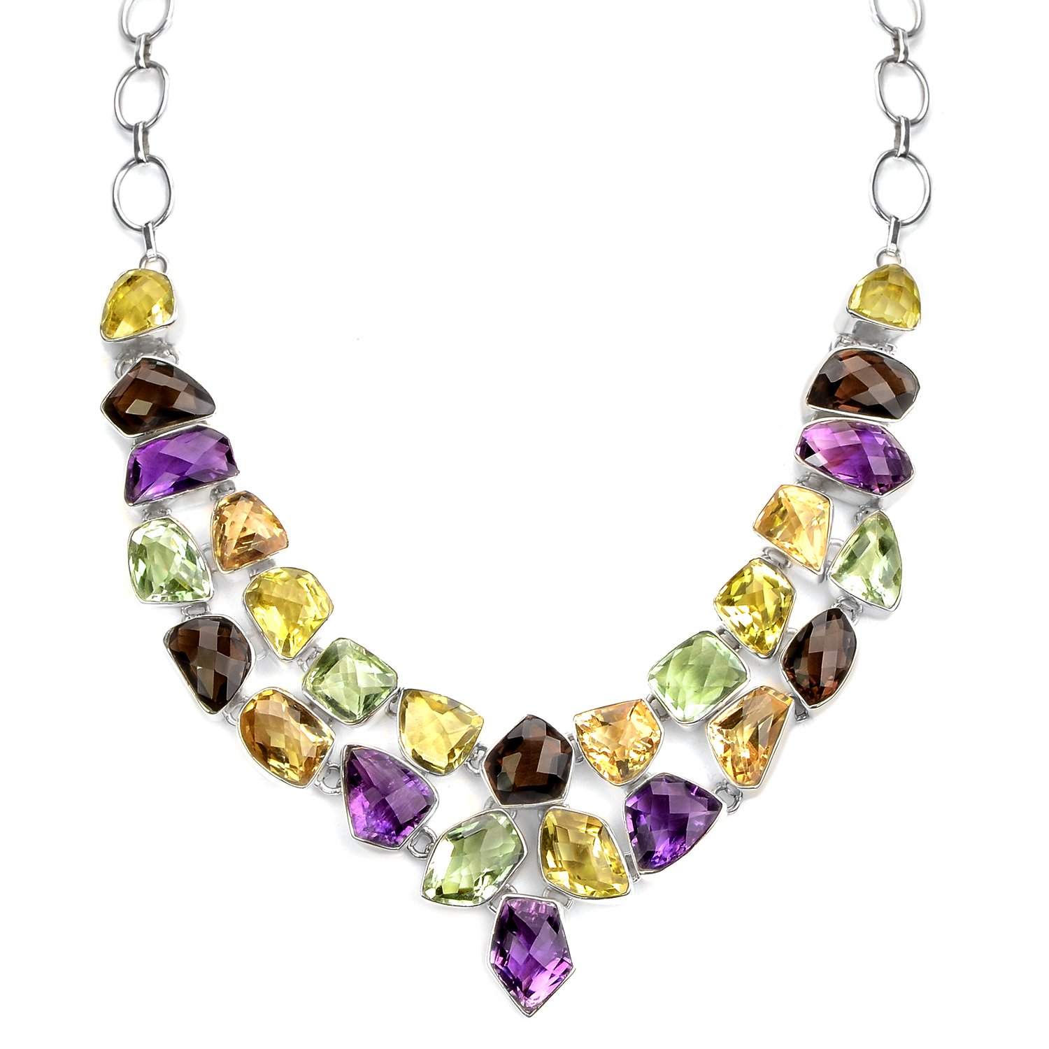 Dazzling Gemstones of Amethyst, Green Amethyst, Lemon Quartz and Citrine Statement Necklace