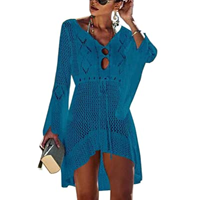 CinShein Women's Cover Up Lace Crochet Hollow Out Cardigan Sexy See Through Long Sleeve Beach Blouse Dress 004 Blue M at Women's Clothing store