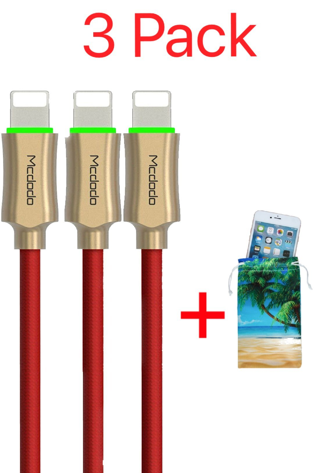 (3 Pack + iPhone Bag) Power Off Smart LED Auto Disconnect Lightning Nylon Braided Sync Charge USB Data 6FT/1.8M Cable For iPhone, iPod and iPad By Mcdodo (6FT Red) by MCDODO