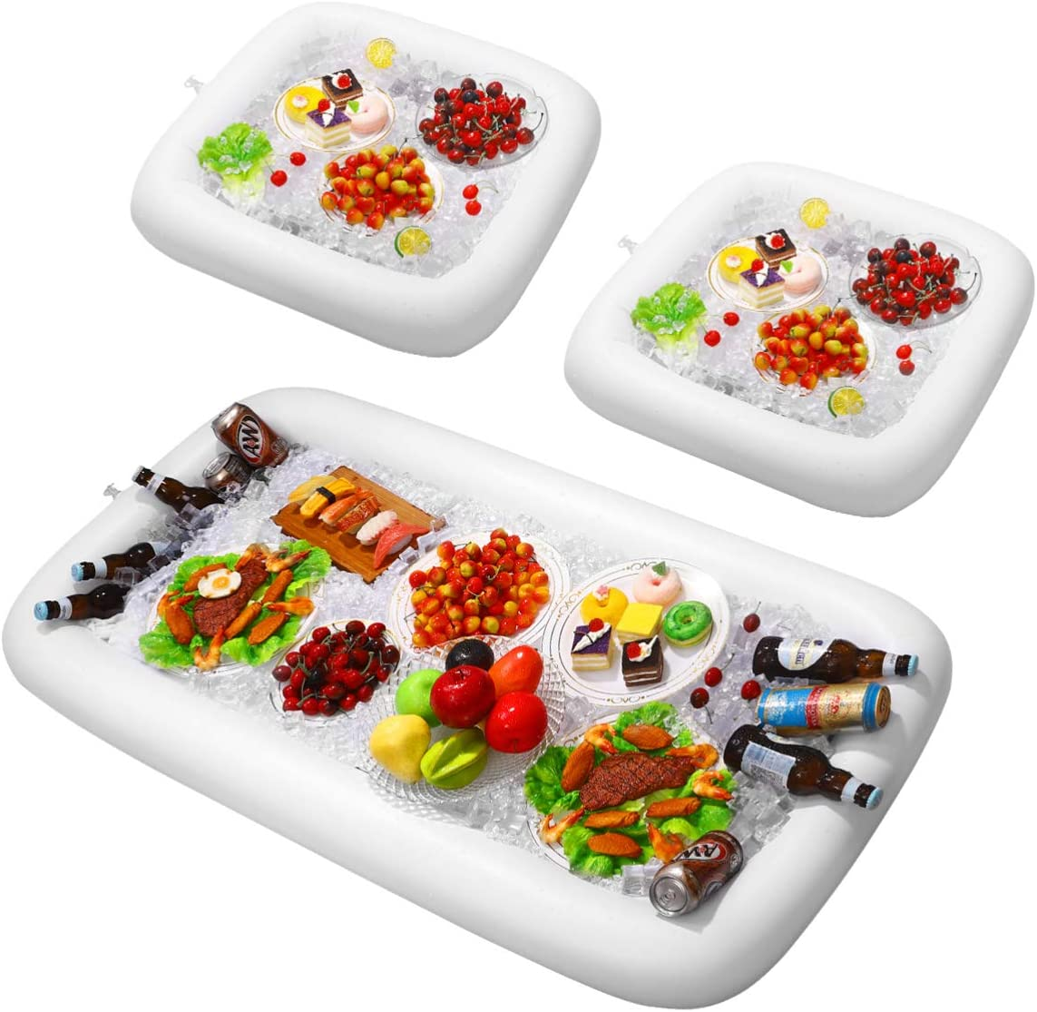 HEMOTON 3Pcs Inflatable Ice Serving Buffet Bar Waterproof Salad Food Drinks Tray Salad Cooler with Drain Plug for Picnic Camping Beach BBQ Picnic Pool Party White
