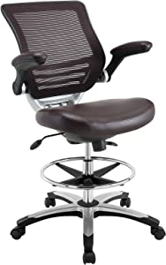 Modway Edge Drafting Chair In Brown - Reception Desk Chair - Tall Office Chair For Adjustable Standing Desks - Flip-Up Arm Drafting Table Chair