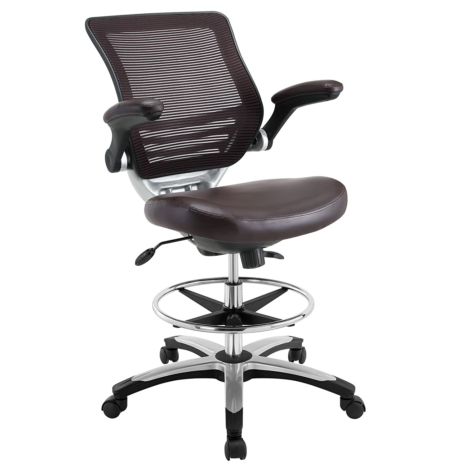 Office chair for drafting table - Modway Edge Drafting Chair In Brown Vinyl Reception Desk Chair Tall Office Chair For