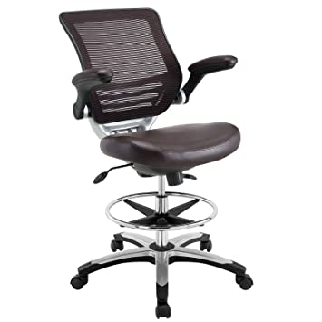 Modway Edge Drafting Chair In Brown Vinyl   Reception Desk Chair   Tall  Office Chair For