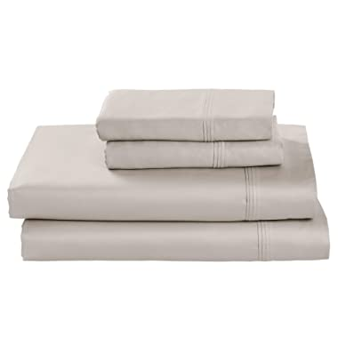 Stone & Beam HygroCotton Sateen Bed Sheet Set, Easy Care, Queen, Stone