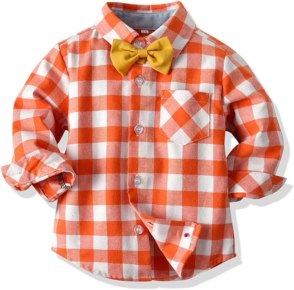 Joycebaby Little Boys Button Down Plaid Flannel Shirt Pant Outfits Boys Clothes Set