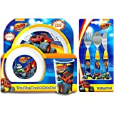 Blaze and the Monster Machines 6-Piece Dinner Set | Tumbler, Bowl, Plate, Knife, Fork and Spoon