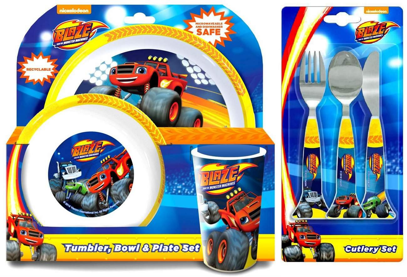 Blaze and the Monster Machines 6-Piece Dinner Set   Tumbler, Bowl, Plate, Knife, Fork and Spoon Spearmark