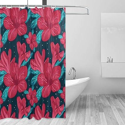 Amazon LUCASE LEMON ALEX Red Flower Shower Curtain Set For Home