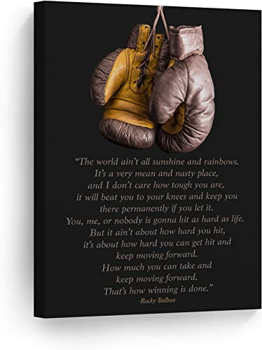 Smile Art Design Rocky Balboa Quote Canvas Wall Art Print Motivational Quote Inspirational Keep Moving Forward Living Room Office Decor Success Entrepreneur Decor Boxing Gloves Ready to Hang
