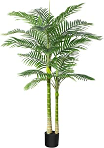 DR.Planzen Artificial Golden Cane Palm Tree 5.5 Feet Fake Plant for Home Decor Indoor Outdoor Faux Areca Palm Tree in Pot for Home Office Perfect Housewarming Gift