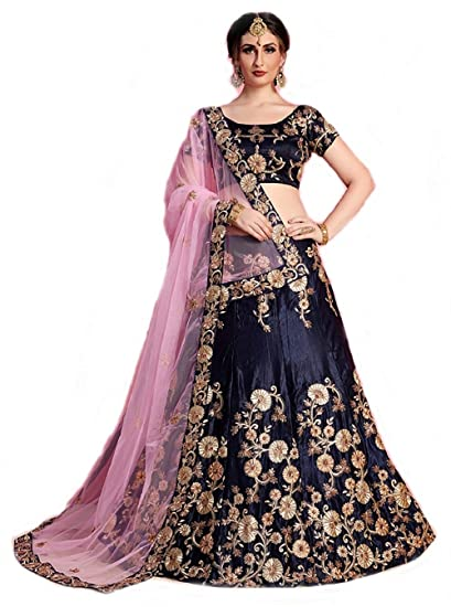 b453832b699859 A.R.Sundaram Fashion Women's Tapeta Velvet Semi-Stitched Embroidered  Codding Lehenga Choli and Dupatta Set