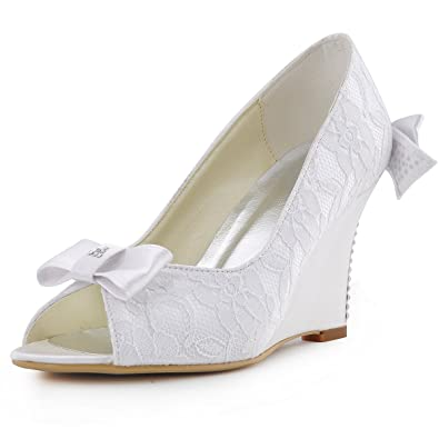 b750896ac6b8 ElegantPark WP1414 Women Peep Toe Pumps High Heel Wedges Rhinestones Bows Lace  Wedding Bridal Shoes Ivory