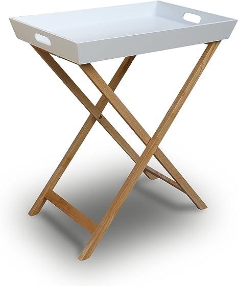 Tavolo Pieghevole Con Vassoio.Vassoio Tavolino Pieghevole Con Struttura In Legno Bianco Beige