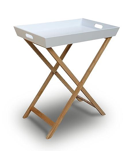 Tavolino Con Vassoio.Vassoio Tavolino Pieghevole Con Struttura In Legno Bianco