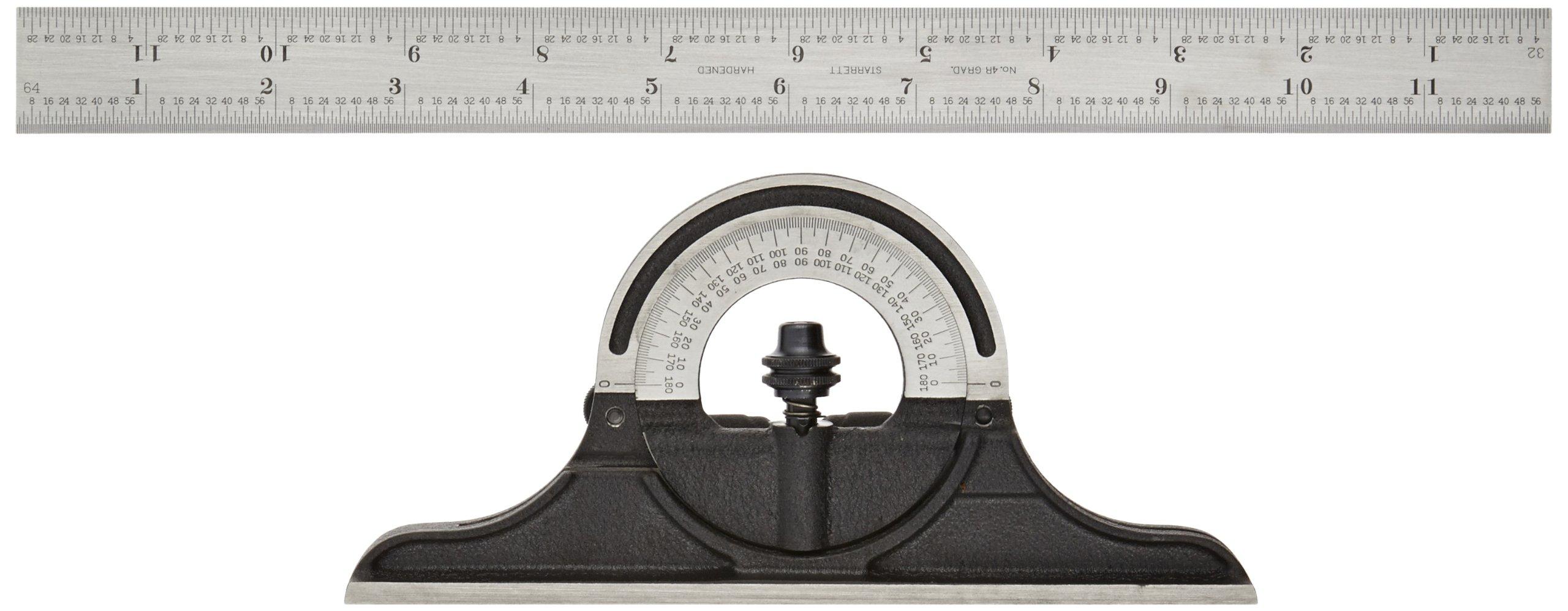 Starrett 491-12-4R Bevel Protractor, Protractor Head, Reversible, Black Wrinkle Finish,12'', 4R Grad