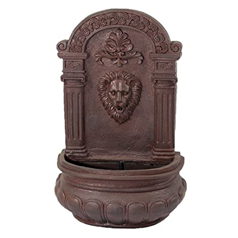 Sunnydaze Imperial Lion Outdoor Solar On Demand Wall Fountain With Iron  Finish, 32 Inch