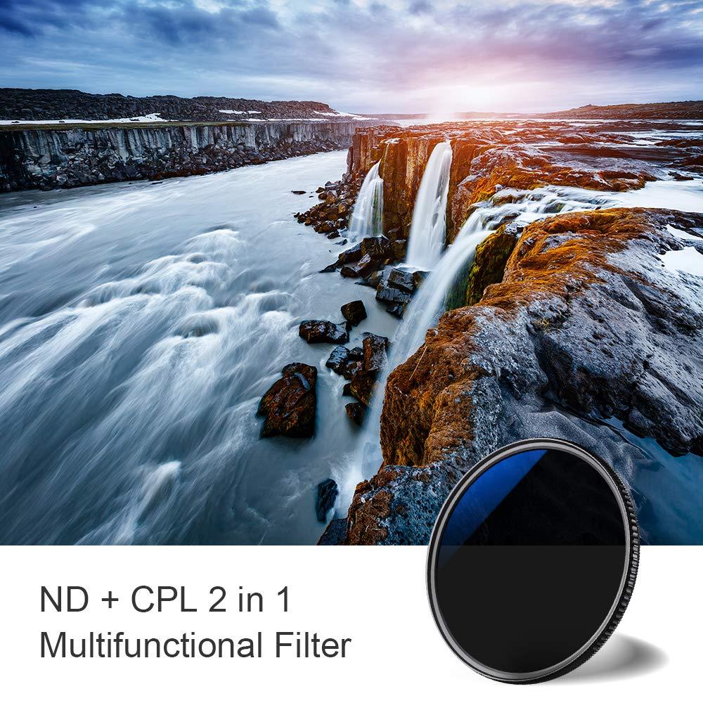52mm Filtro ND8 K/&F Concept 2 en 1 Filtro de Densidad Neutra 18 MRC y Filtro Polarizador 52mm para C/ámara Lente NO X Spot con Funda