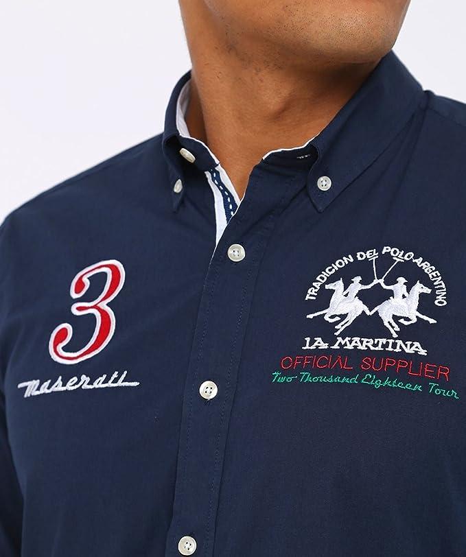 La Martina Hombres Camisa Slim Fit Maserati Marina de Guerra XXL ...