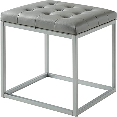 Inspired Home Halley PU Leather Tufted Cube Ottoman