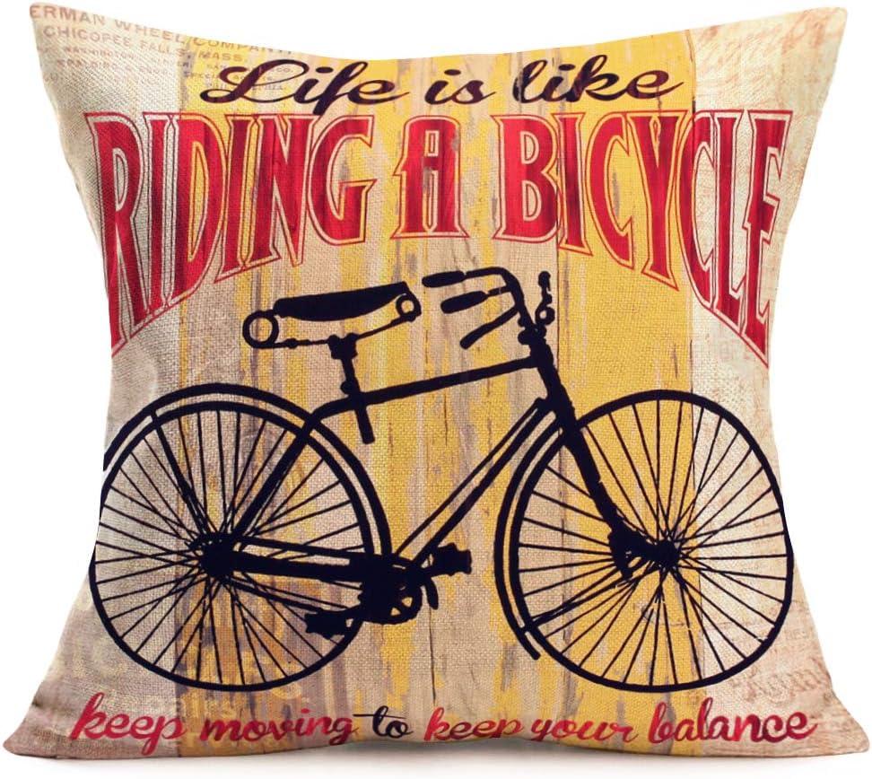 Farmhouse Pillow Cover Vintage Bike Custom Couch Pillow Enjoy the Ride Vintage Bicycle Pillow Decorative Couch Pillow Housewarming Gift