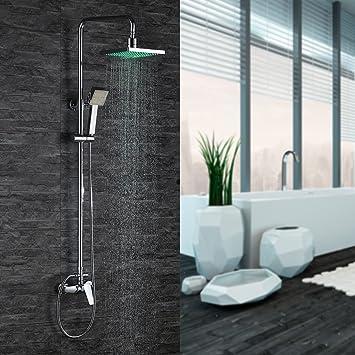 Home Lody® RGB ducha Set LED Luz latón cromo – Sistema de ducha ...