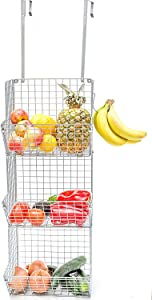 Hanging fruit basket shelves Metal Wire Tier Wall Mounted over the door organizer Kitchen Fruit Produce Bin Rack Bathroom Towel Baskets fruit stand produce storage rustic Z Basket Collection (silver) gifts for women
