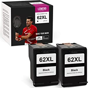 LemeroUexpect Remanufactured Ink Cartridge Replacement for HP 62XL 62 XL C2P05AN for OfficeJet 200 250 OfficeJet 5740 5745 5746 5741 Envy 5660 7640 7645 5540 5643 5542 7644 5642 5640 (Black, 2-Pack)