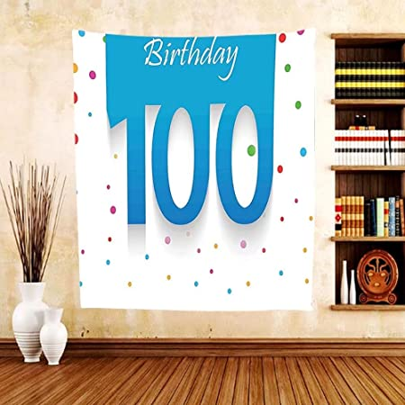Gzhihine Custom Tapestry 100th Birthday Decorations Chocolate Wrap Like Brown Party Invitation Hundred Years For