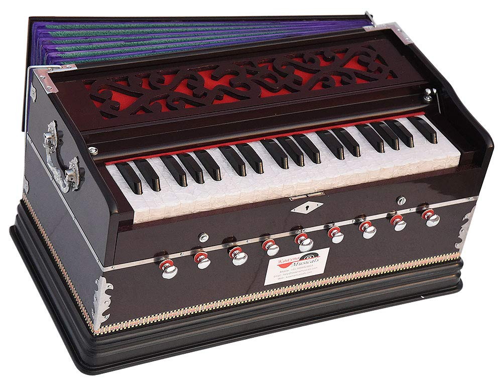 OM Harmonium Pro Grade By Kaayna Musicals, Dark Colour, 9 Stop- 5 Main & 4 Drone, 3¼ Octaves, Coupler, Gig Bag, Bass/Male Reed Tuned- 440Hz, Best for Peace, Yoga, Bhajan, Kirtan, Shruti, Mantra, Drone by Kaayna Musicals
