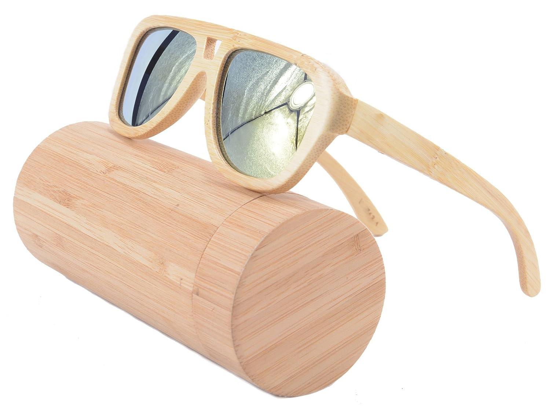 8052c20bf1 Amazon.com  SHINU Oversized Bamboo Wood Sunglasses Square Retro Polarized  Glasses- Z6015(bamboo