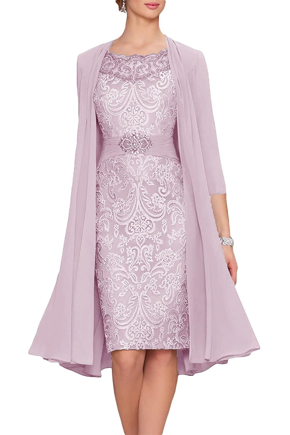 Newdeve Chiffon Mother The Bride Dresses Tea Length Two Pieces ...