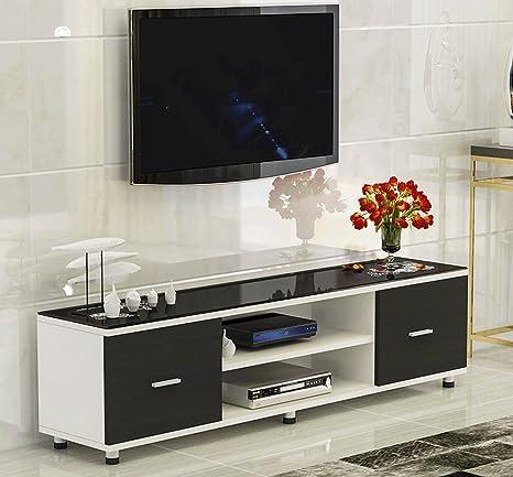 SDMH Sala de estar simple Mueble de TV Dormitorio pequeño apartamento Vidrio templado Combinación creativa de mesa doble Cajón doble: Amazon.es: Bebé