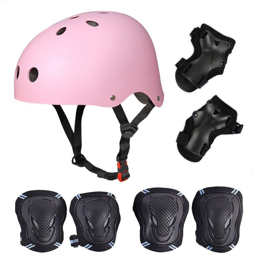 SymbolLife Casque de Kit de Protections 6 pièces Casque de BMX Pads Genouillères de coude avec des protège-Poignets pour Patin, vélo, Skateboard, Scooter