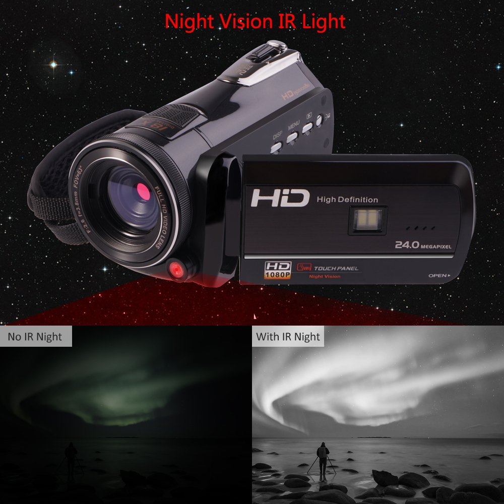 Camcorders, Full HD 1080P 30FPS Wifi Camcorder DVR Handy Video Camera Recorder with Infrared Night Vision, 3'' Touchscreen, IR Remote Control, 18X Digital Zoom and 72mm Ultra HD Wide Angle Lens by LAKASARA (Image #4)