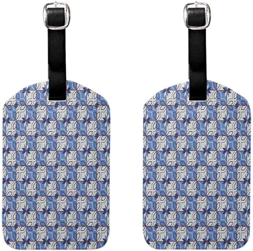 Moroccan Luggage tag with full back privacy cover Geometric Composition with Checkered Squares Grid Tiles Angled Lines Flowers Pale Blue Cream (2 PCS) 71tAa7Dc3NL