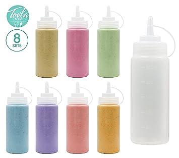 (8 unidades) plástico Squeeze botellas de Squirt para condimentos con Attached tapas y discretos