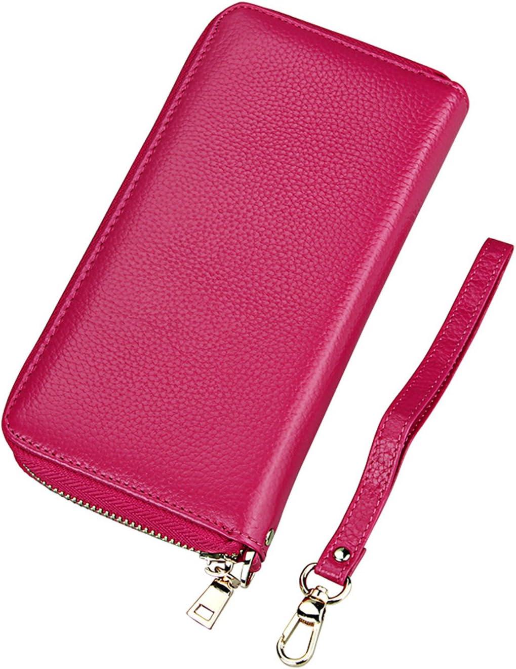 iSuperb Billetera de Cuero Monederos Mujeres Cartera Wallet Titular de la Tarjeta para Cartas y Dinero 20 X 10.5 X 3CM Rojo